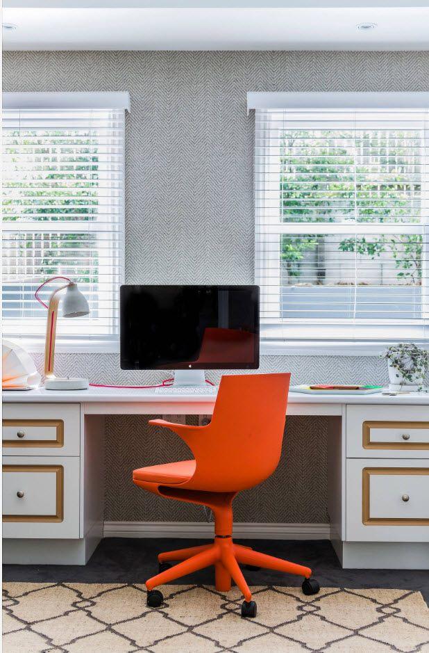 Orange revolving chair in the modern Scandi design