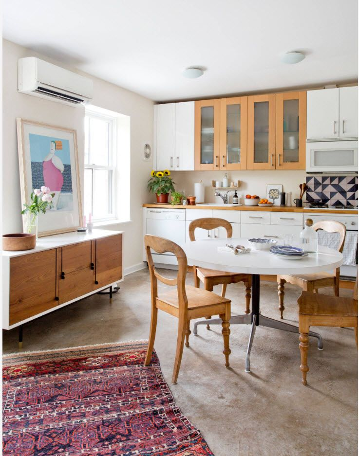 Classic kitchen set with wooden and white facades