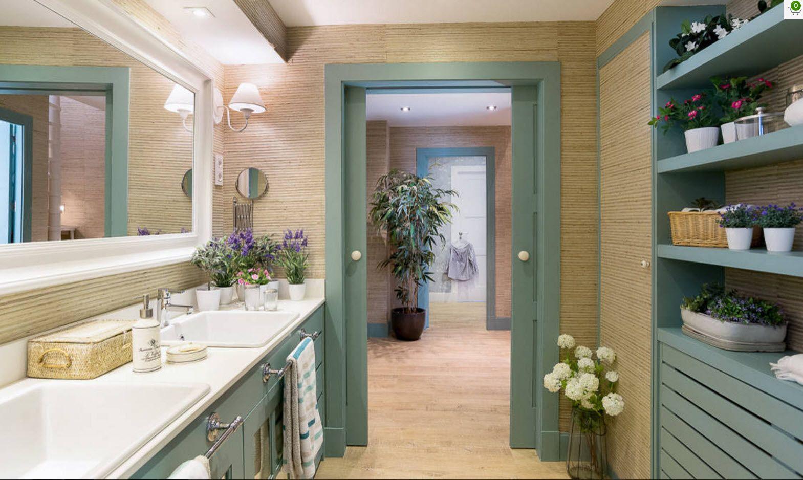 Pastel olive green door frame and bathroom vanity set