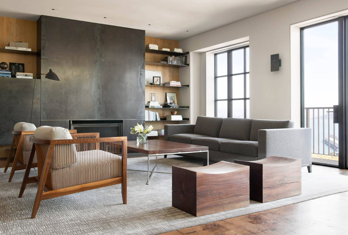 Gray spots in the interior: sofa and accent wall