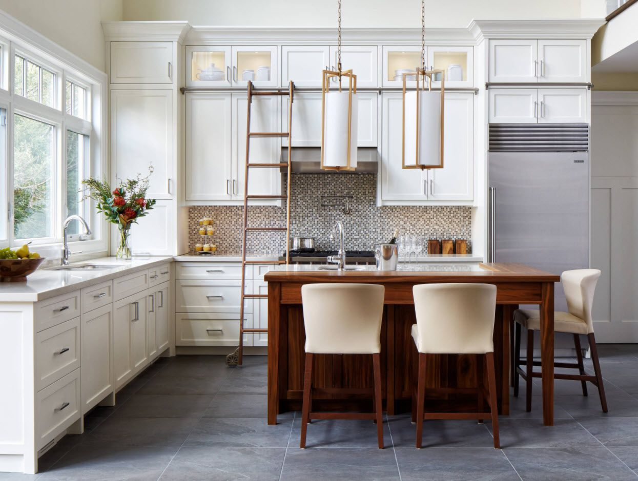 40 Square Feet Kitchen Modern Design Ideas & Layout Types. Nice idea with the ladder in the white kitchen