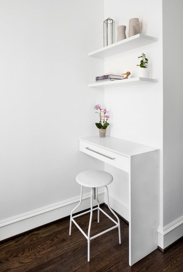 Top 100 Modern Home Office Design Trends 2017. Absolutely white idyll of the matte painted walls and smooth lined table looking like grand piano
