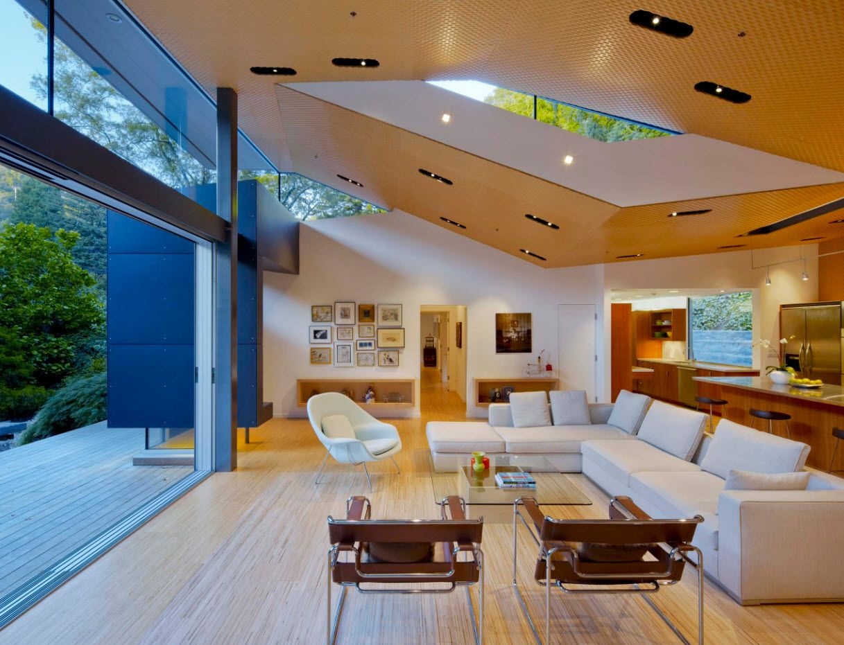 Slanted ceiling at the modern suburb forest mansion with panoramic door
