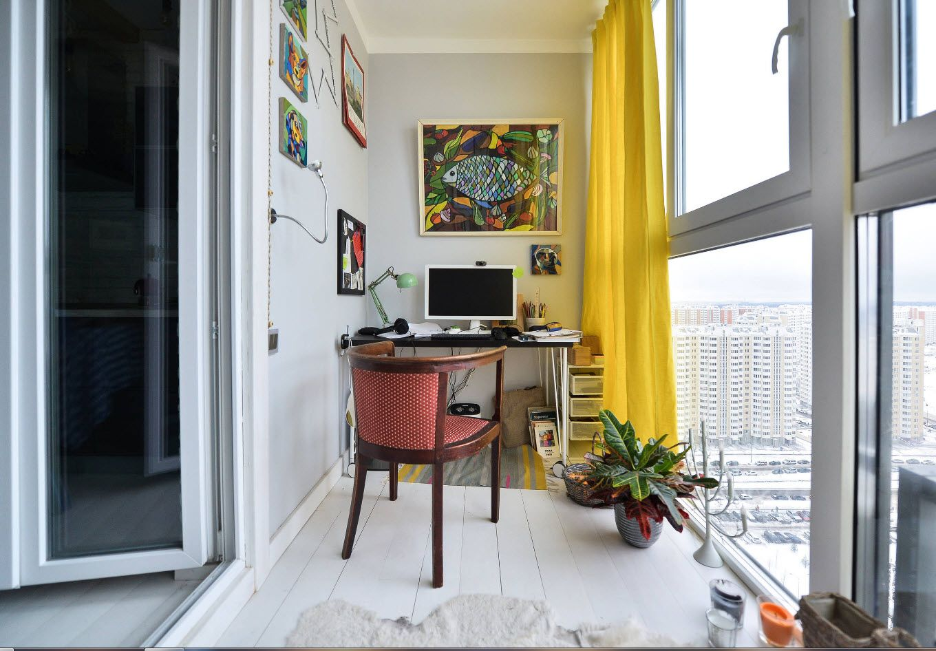 Top 100 Modern Home Office Design Trends 2017. Red chair and yellow tulle for panoramic window of urban apartment