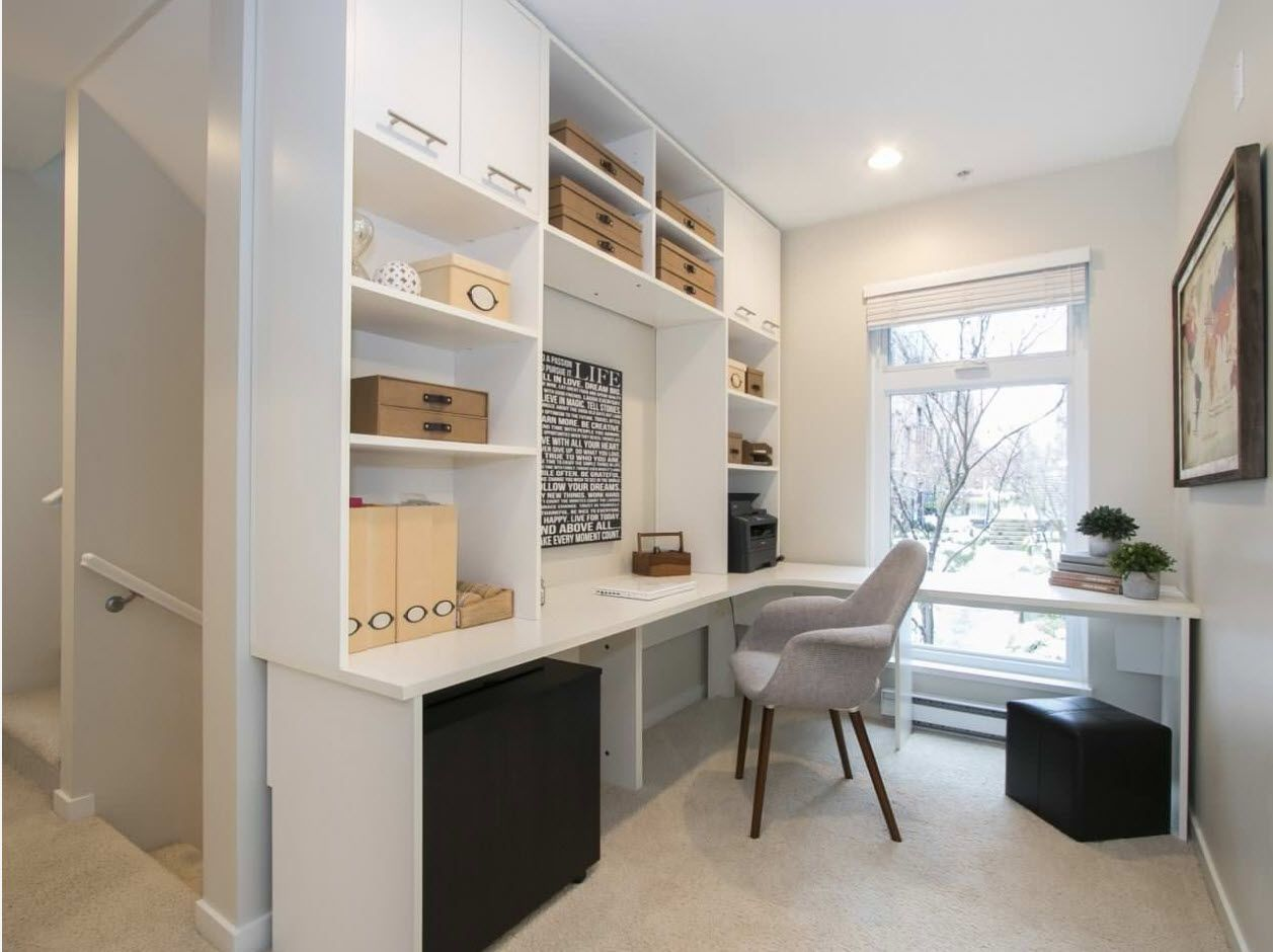 Light gray decor with massive storage shelving