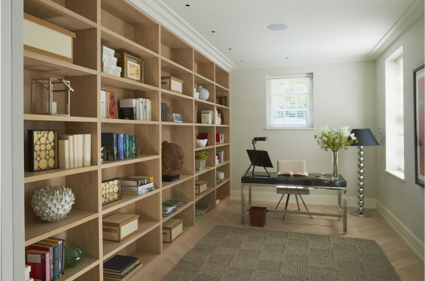 Nice design idea with wall-length storage at the home office