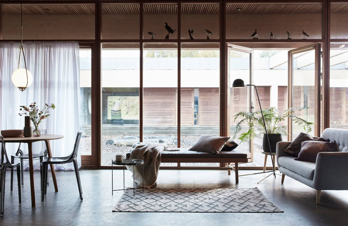 Modern Cottage Interior Design Tips. Trends And Features 2017. Panoramic  Windows At The First