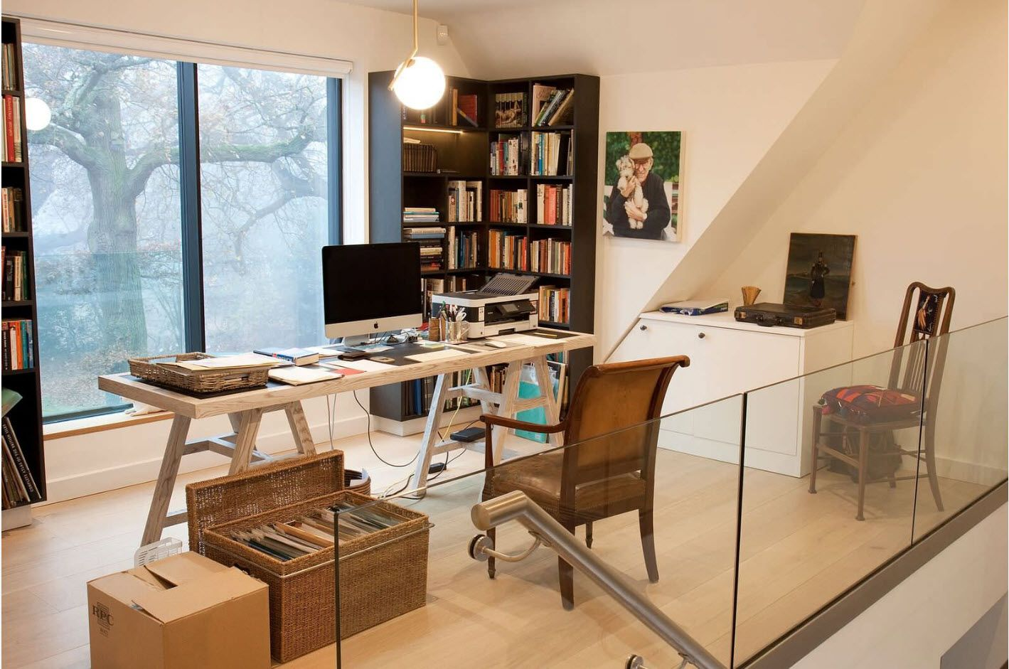 Top 100 Modern Home Office Design Trends 2017. Angular book sleving and glass partitions in the working zone