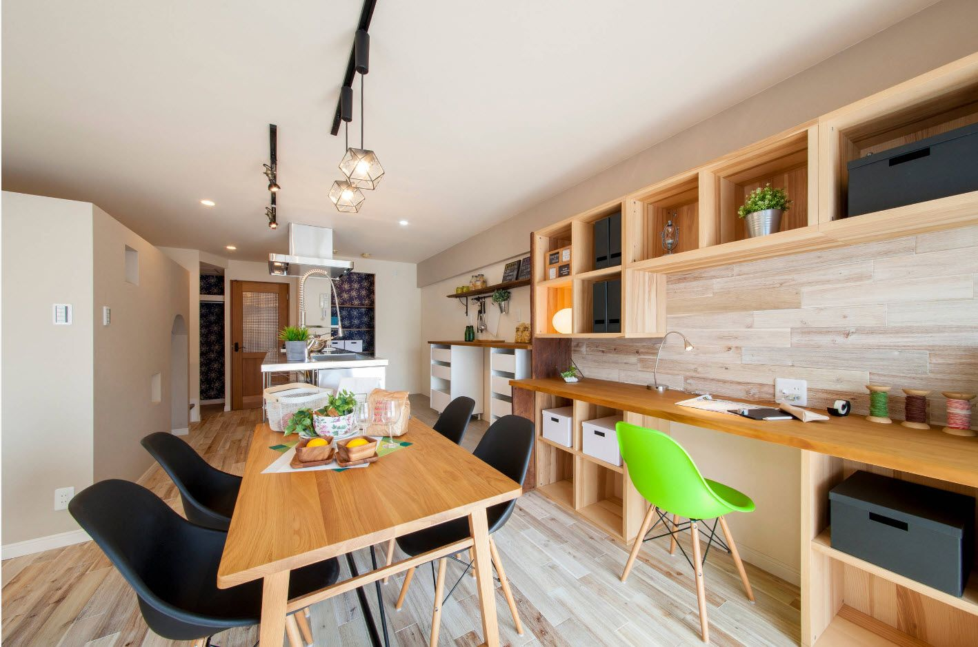 Top 100 Modern Home Office Design Trends 2017. Light wooden top shelving and wooden table