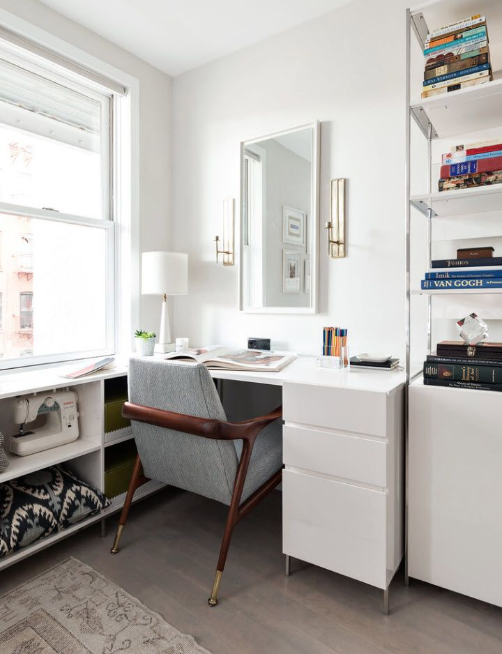 Totally white home office with Scandinavian setting