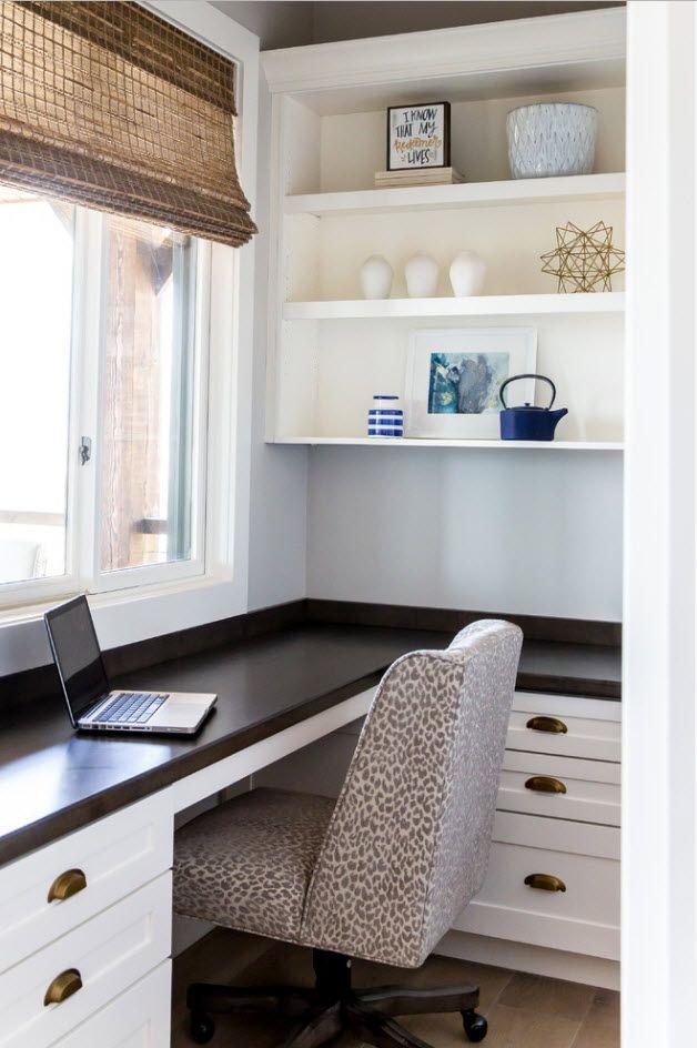 Universal working eindowsill of dark wood for modern home office