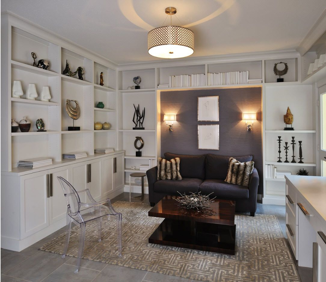 Vintage decorated room with white shelves for storage
