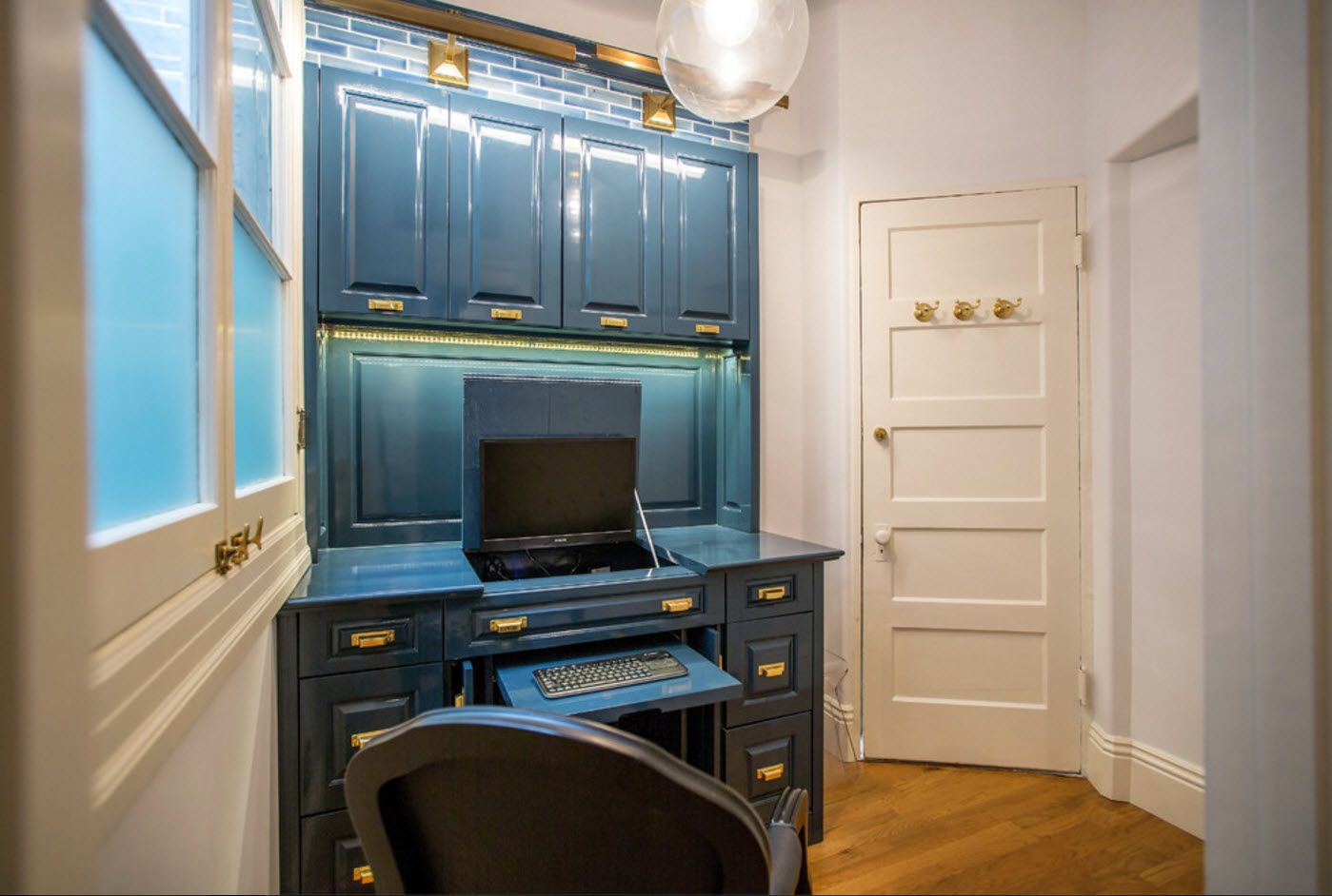 Classic design style with blue panels of the home office