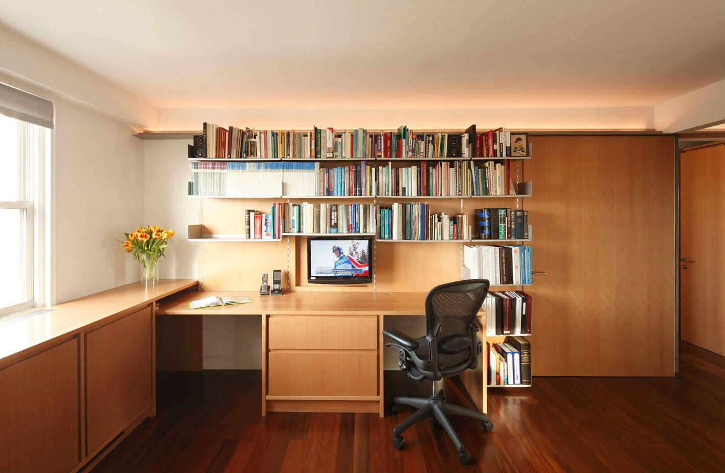 Modern Cottage Interior Design Tips. Trends and Features 2017. Classic light wooden furniture set for the home office