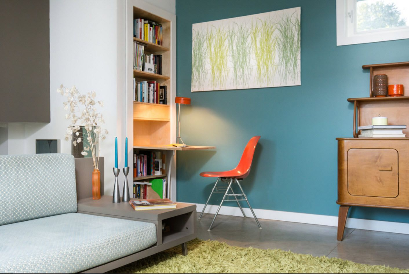 Top 100 Modern Home Office Design Trends 2017. Blue accent wall with books at the big shelf with orange chair near the table
