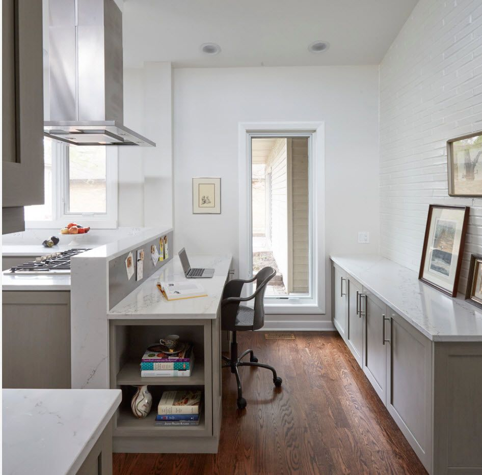Top 100 Modern Home Office Design Trends 2017. Working zone right at the Scandi designed kitchen