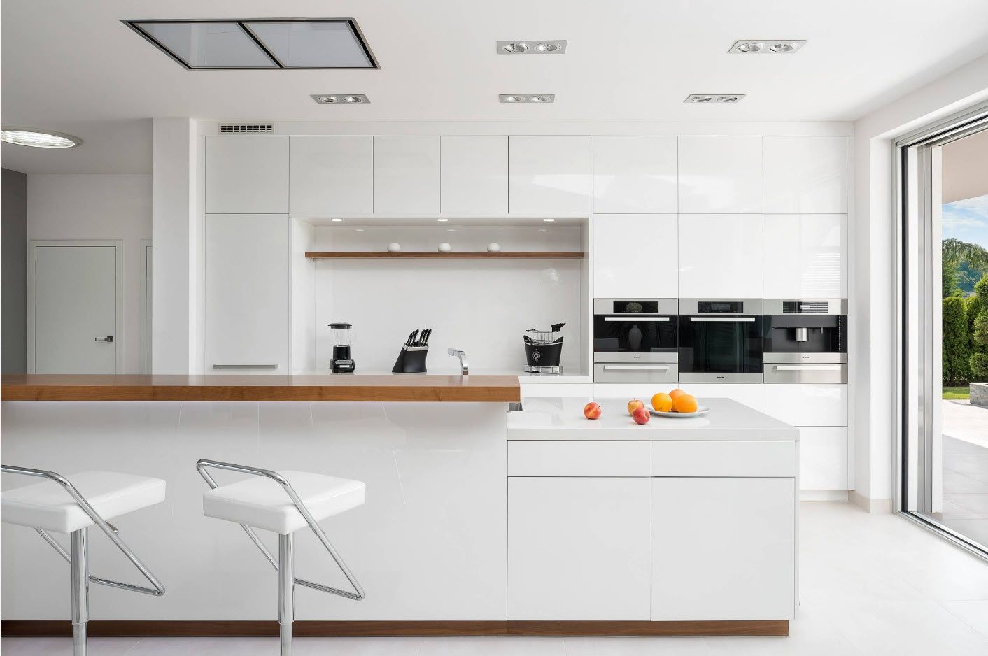 White Scandinavian styled kitchen with wooden countertops