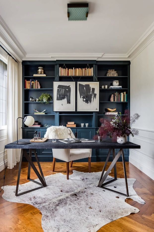 Vintage set of the home office full of books and with storage shelving
