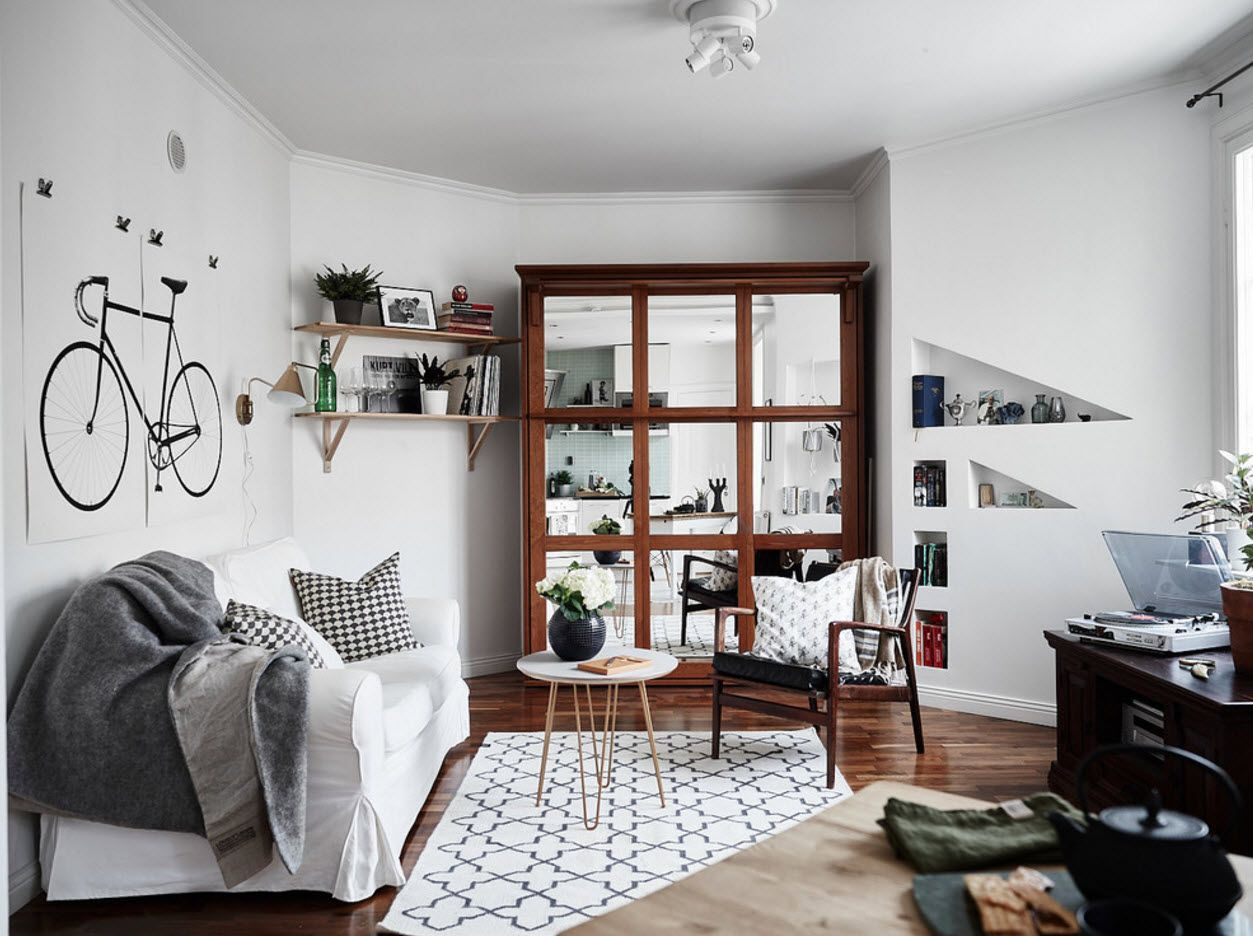 White Scandi design for small living full of things