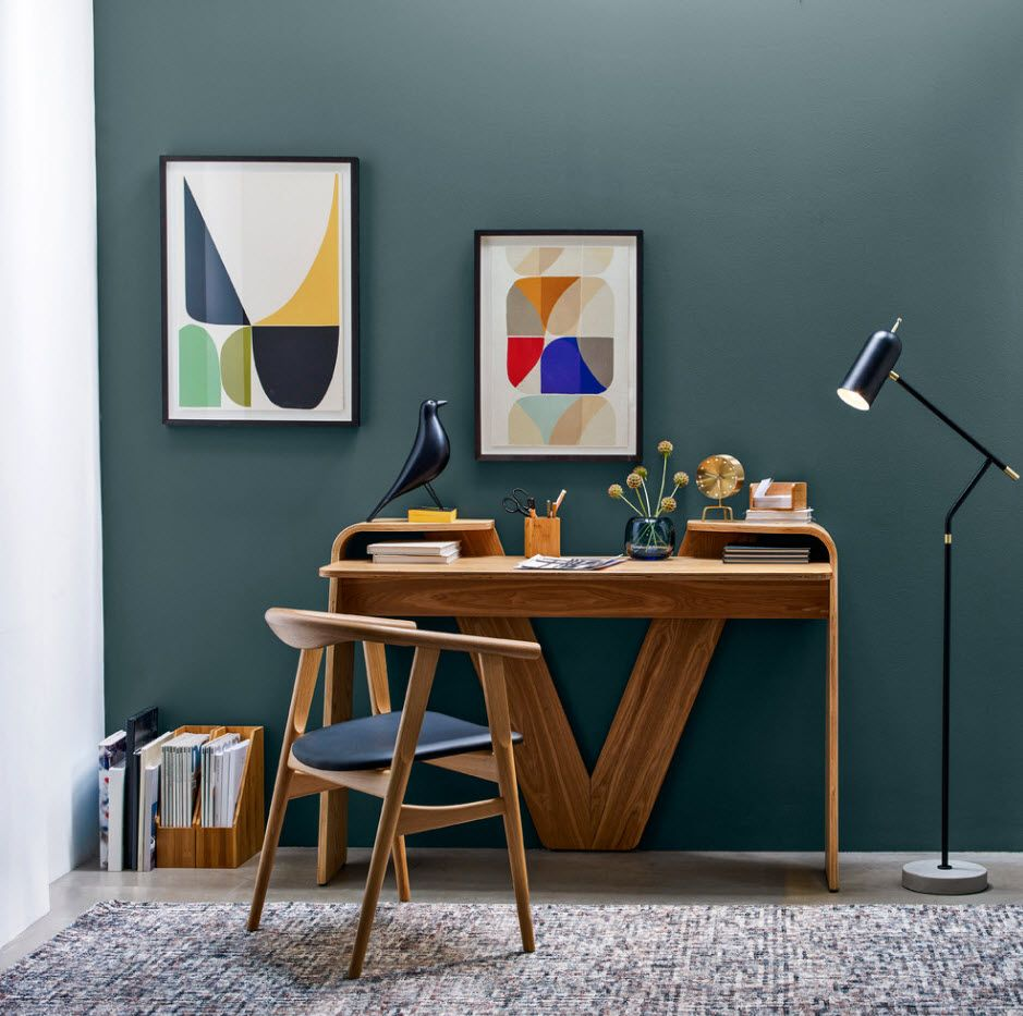 Bright matte wall paint in the futuristic design of the home office 2017