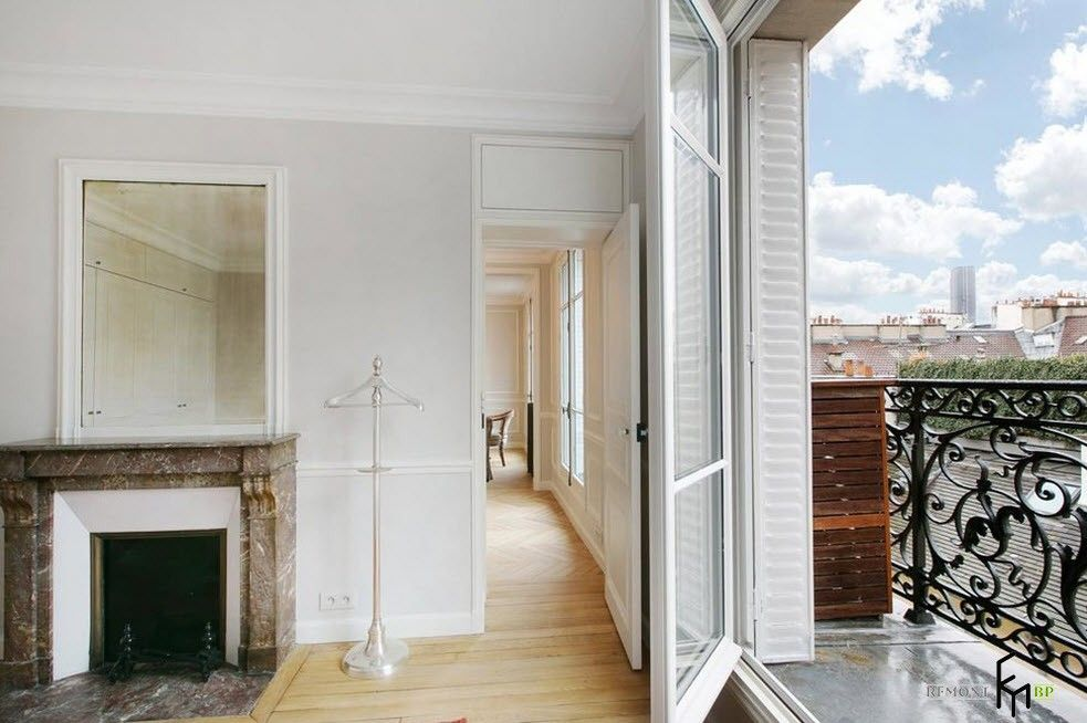 French Interior Traditions in Modern Apartment Interpretation. Hallway in white pastel colors