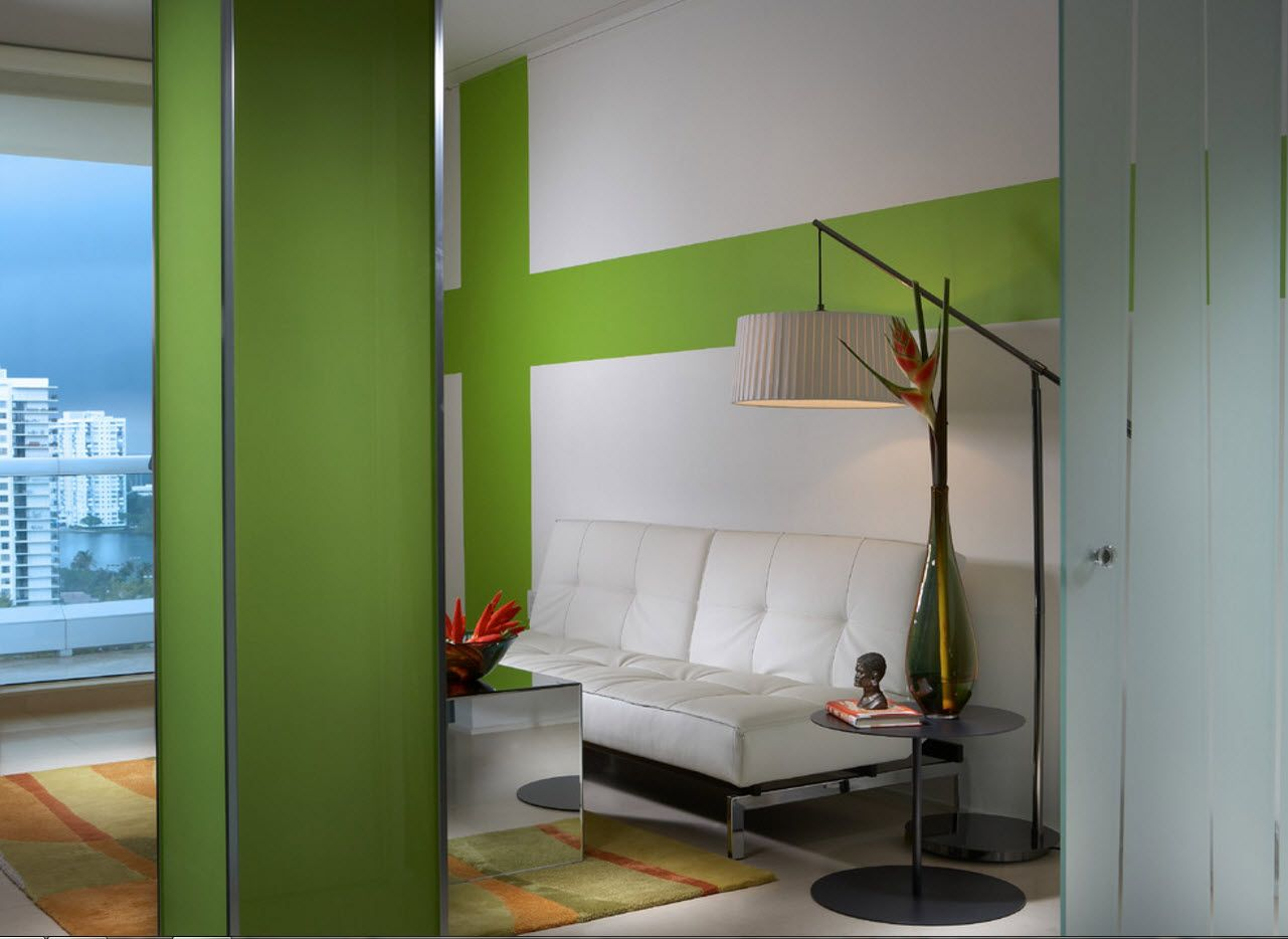 Greenish design for the modern zoned living room