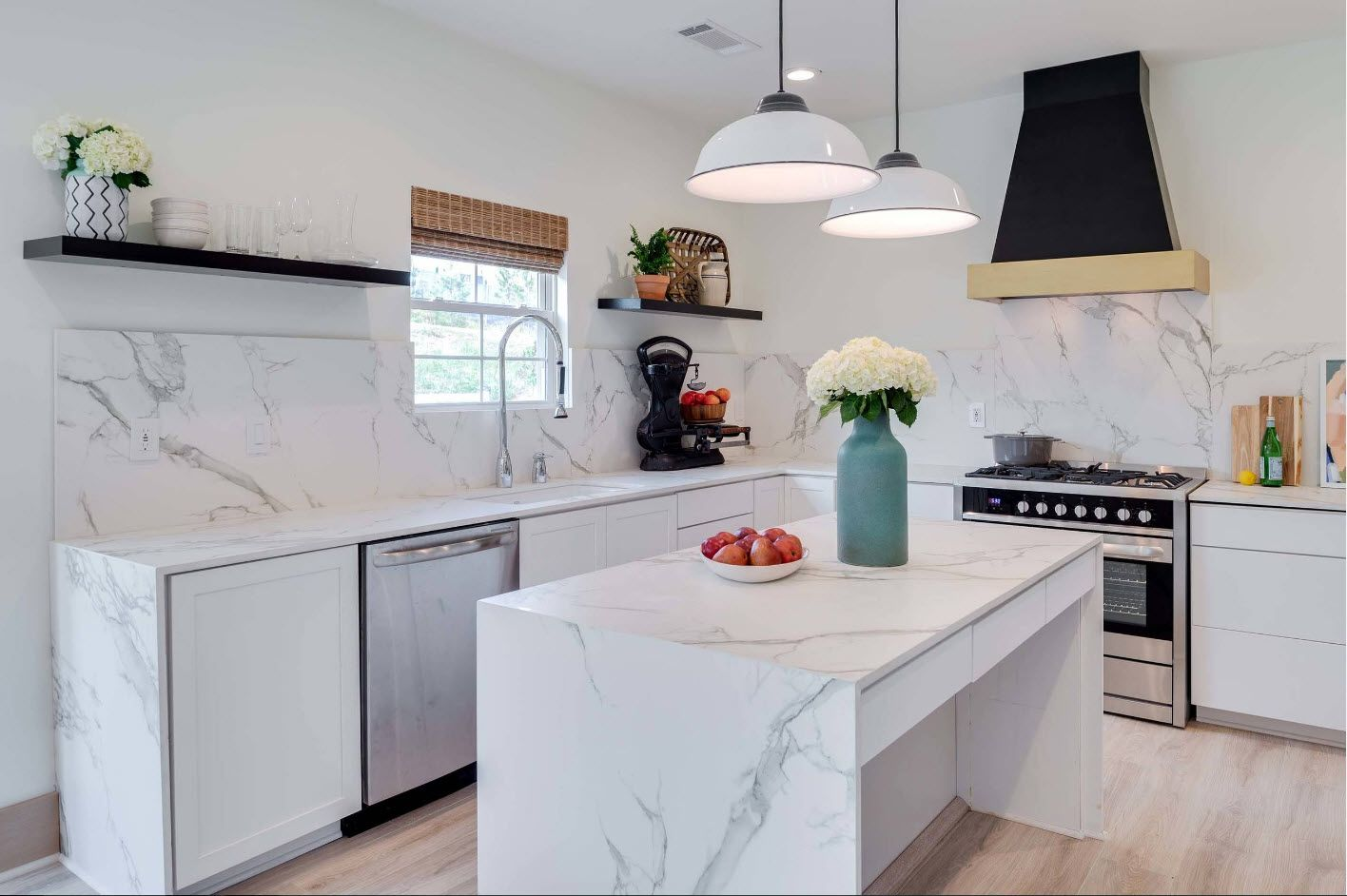 40 Square Feet Kitchen Modern Design Ideas & Layout Types. Marble streaked countertop