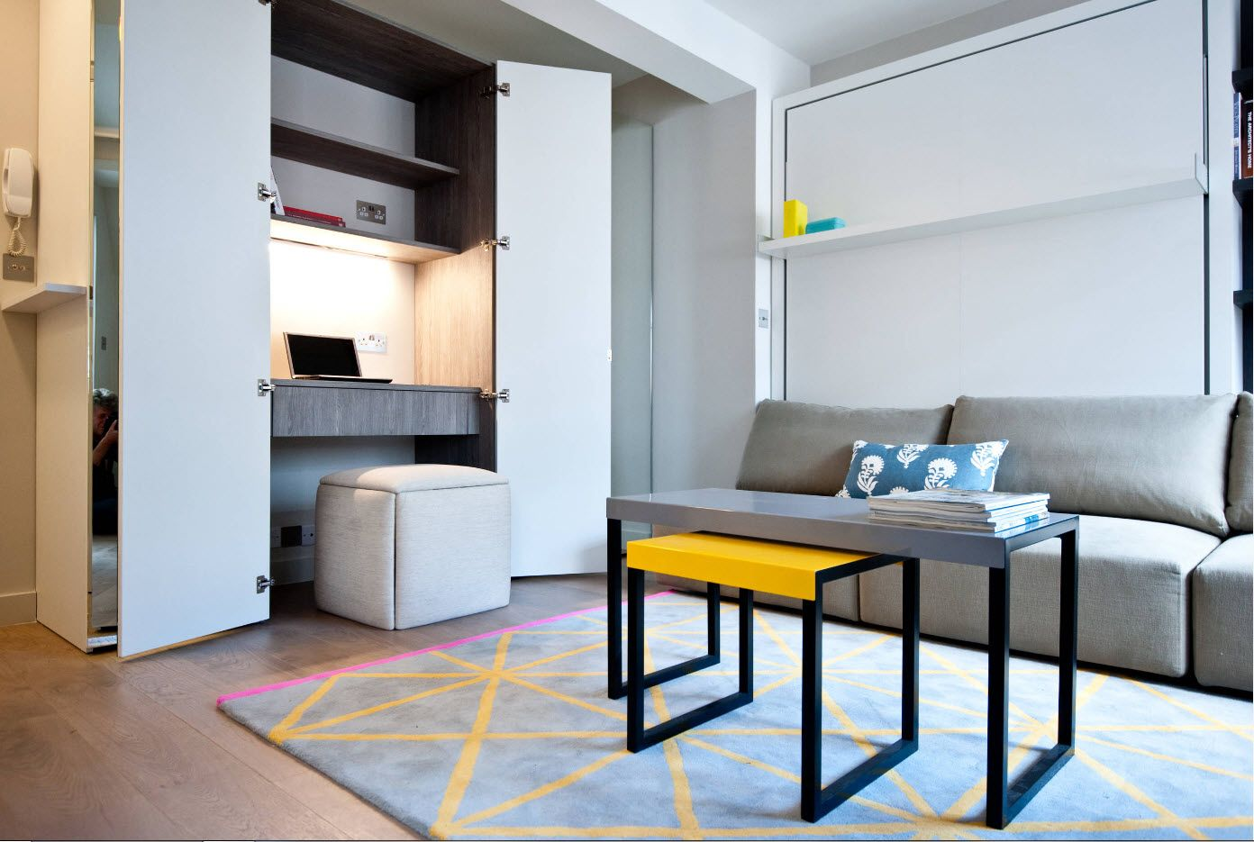 Top 100 Modern Home Office Design Trends 2017. Ultramodern interior with accent yellow table and yellow lines at the rug