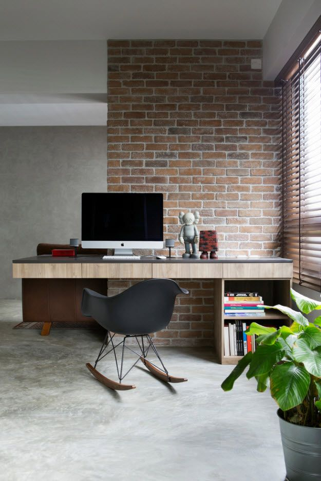 Top 100 Modern Home Office Design Trends 2017. Modern working nook with ski-formed legs chair and real brickwork