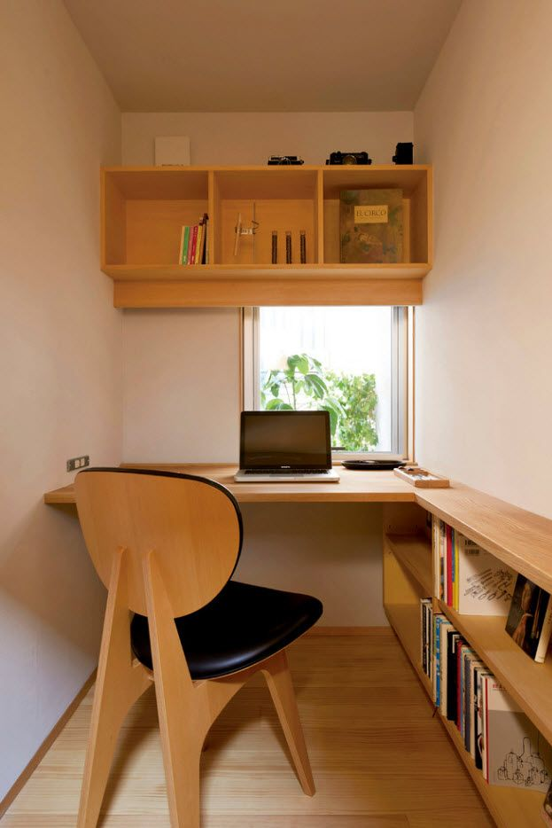 Top 100 Modern Home Office Design Trends 2017. Wooden trimming and chair with black seat and backrest