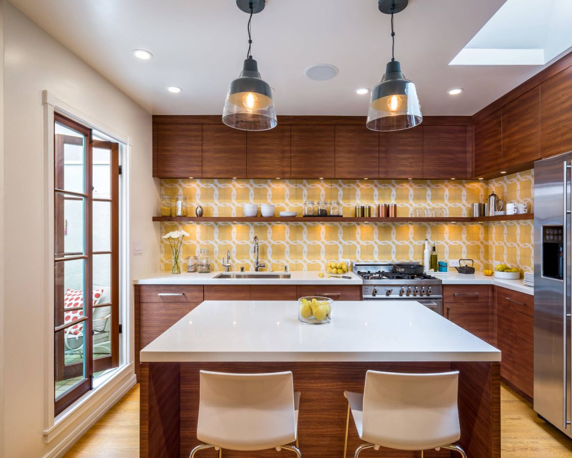 40 Square Feet Kitchen Modern Design Ideas & Layout Types. Dark wooden setting with an island in the center