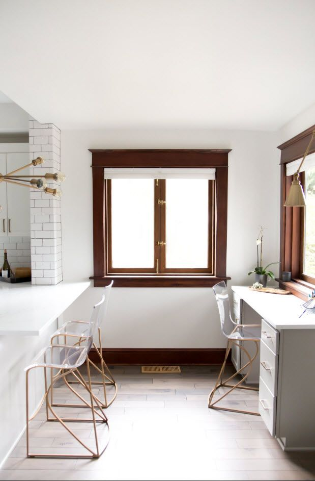 Top 100 Modern Home Office Design Trends 2017. White interior with wooden window frame