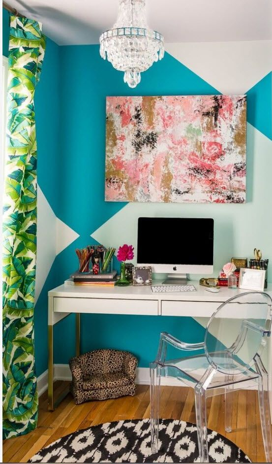 Top 100 Modern Home Office Design Trends 2017. Green drapes and blue wall paint with modern appliances
