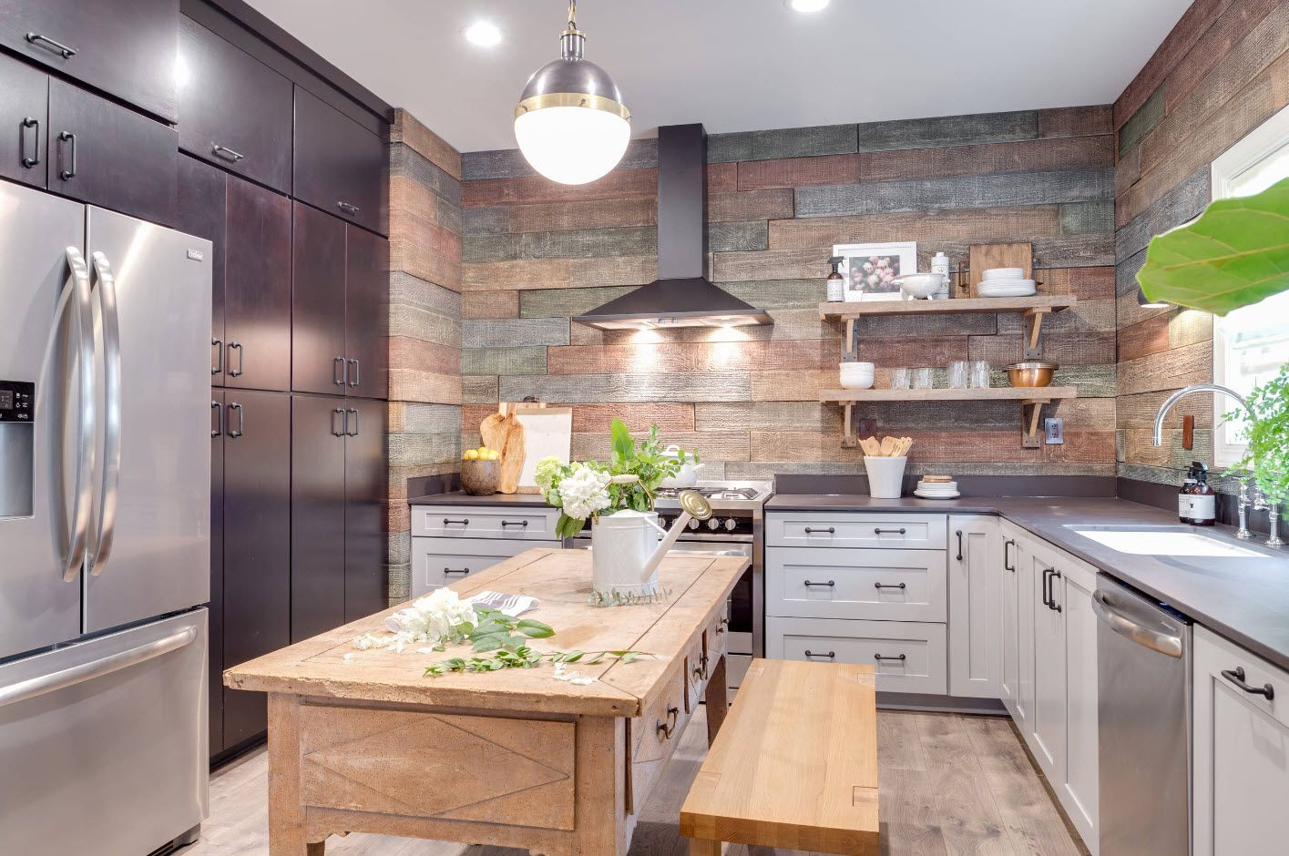 Angular layout of the kitchen with wooden dining group in rustic style