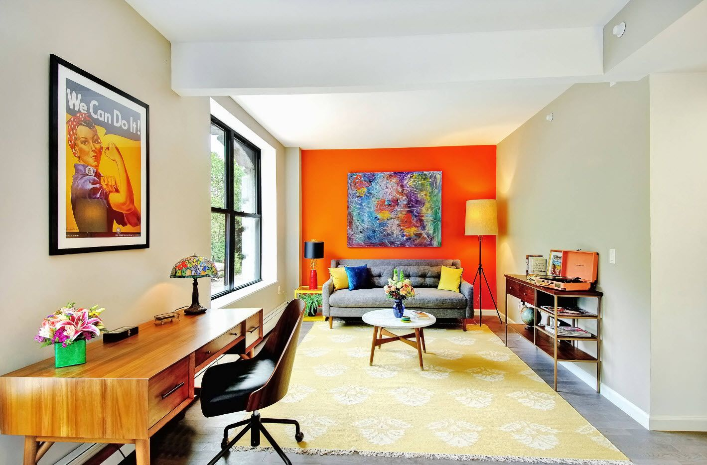Creating Living Room Interior Inspiration Design Ideas 2017. Orange accent wall and handful of colors