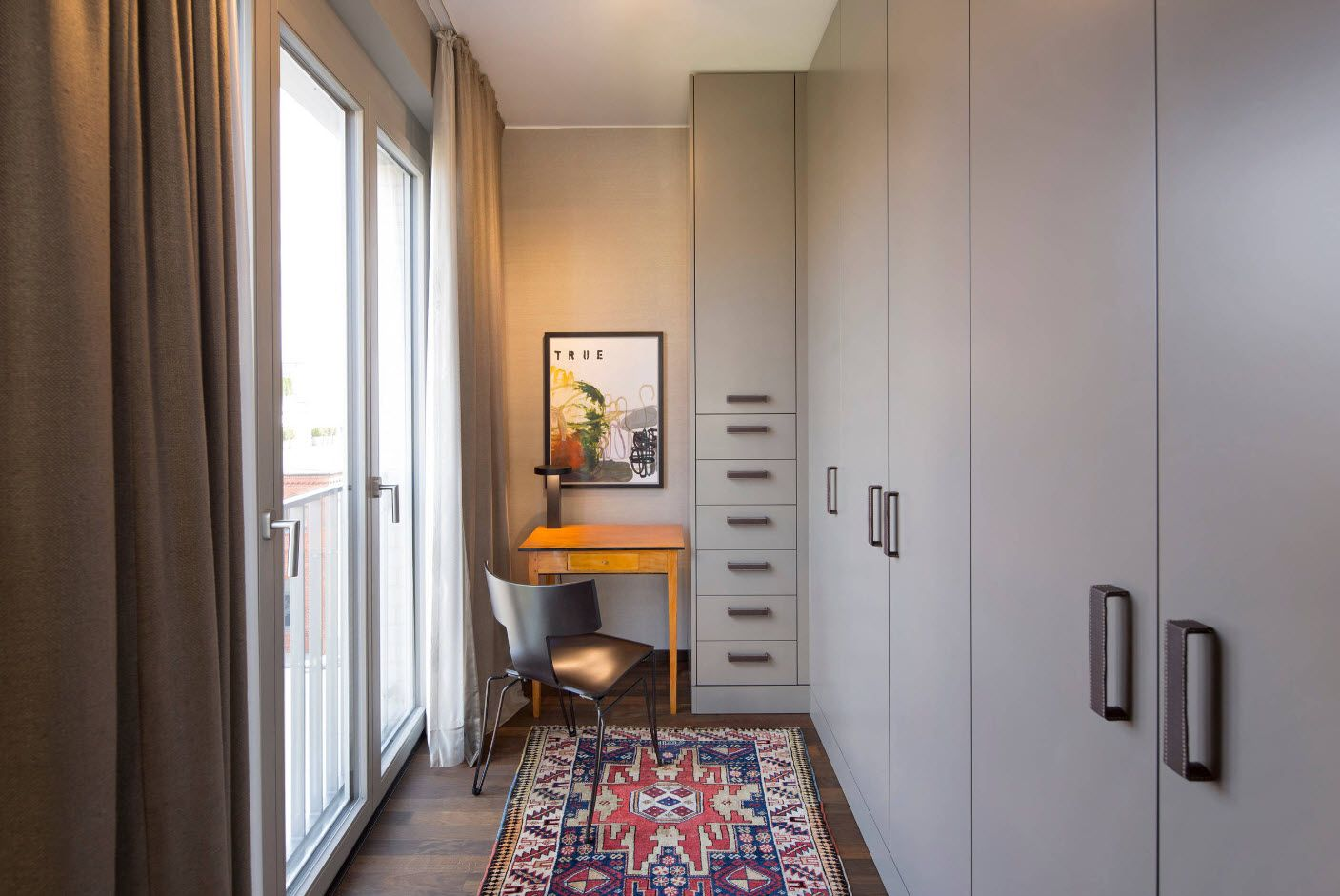 Top 100 Modern Home Office Design Trends 2017. White pastel colored interior trimming with working space at the balcony entrance