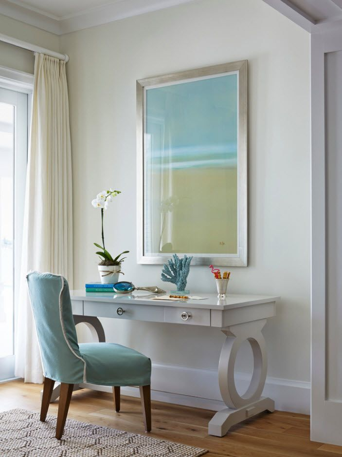 Top 100 Modern Home Office Design Trends 2017. Nice working place looking like boudoir with large place and blue upholstered vintage chair