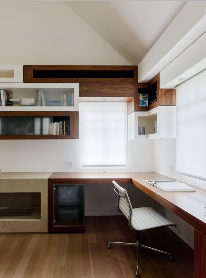 Partially dark wooden furniture accents in the white home office