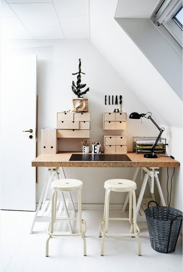 Small boxes as a storage in Scandi home office