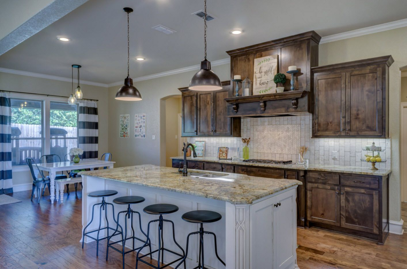 Marble countertop at the Classic style cottage kitchen interior