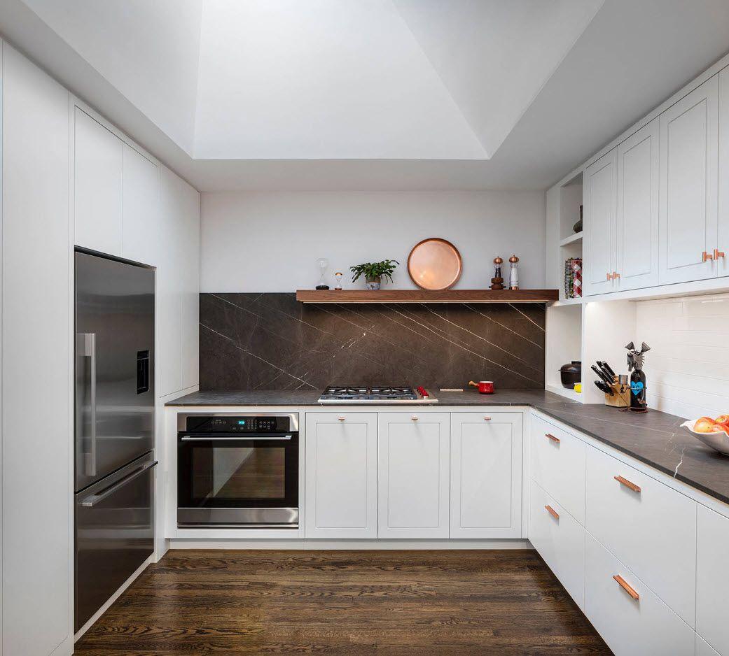 40 Square Feet Kitchen Modern Dedign Ideas & Layout Types. White kitchen set and dark contrastinf backsplash