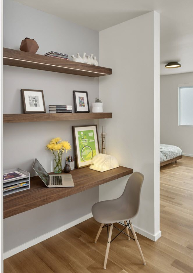 Neat gray and wooden trimming for the home office