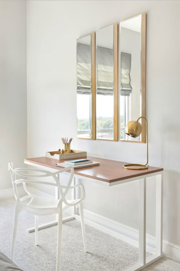 Home office at the larger studio space with mirror and shallow lines