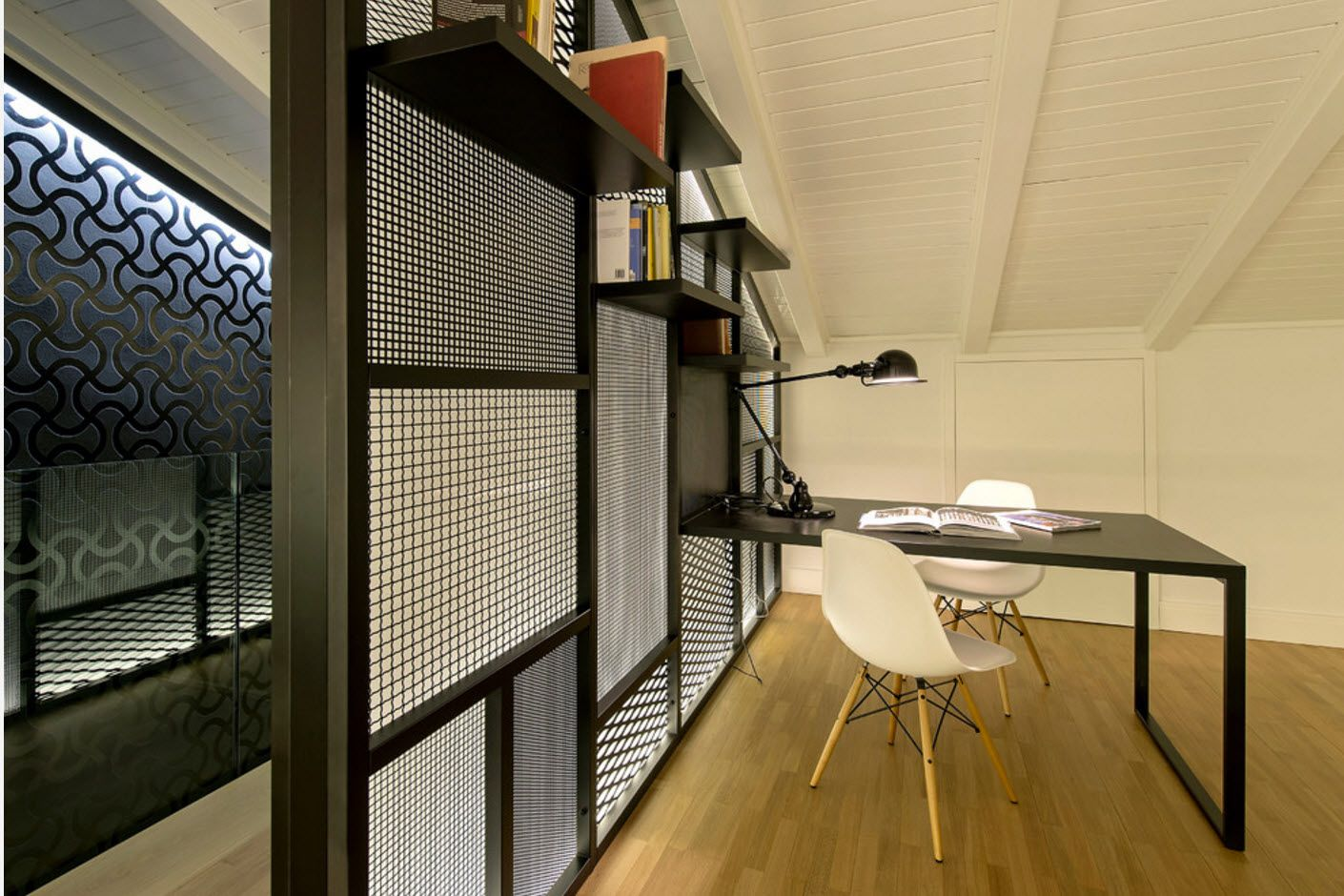 Top 100 Modern Home Office Design Trends 2017. Zoned working place with slanted ceiling