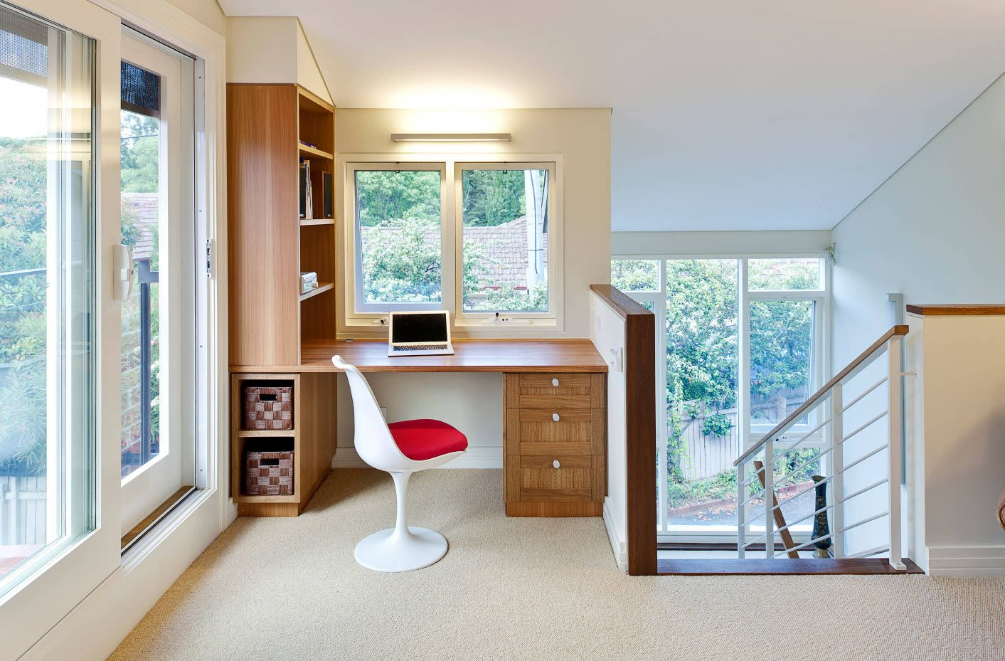 Top 100 Modern Home Office Design Trends 2017. White plastic chair with red cushion