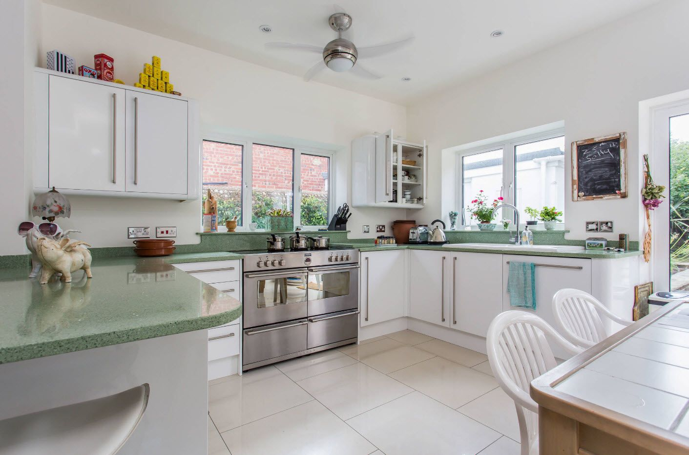 Large U-shaped kitchen layout and steel fan at the top