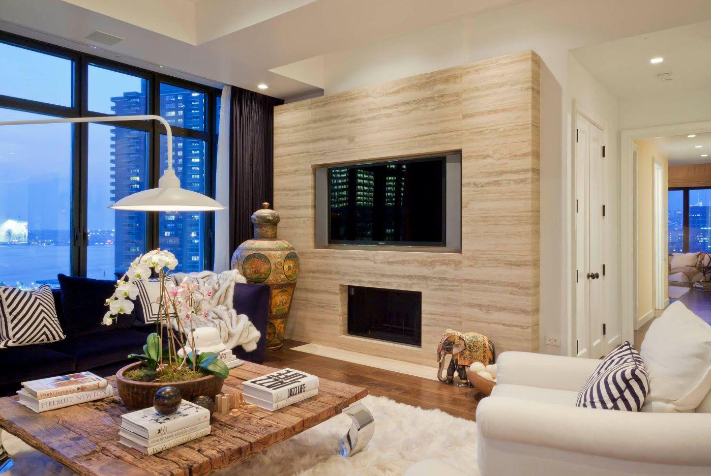 Wooden motiff in decorating of modern interior