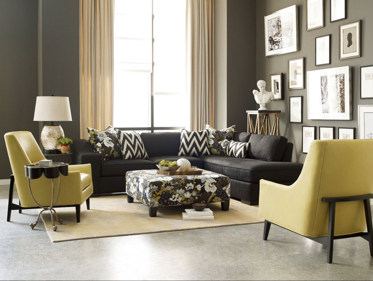 Textbook concept of the Classic interior in the living room with yellow upholstered armchairs
