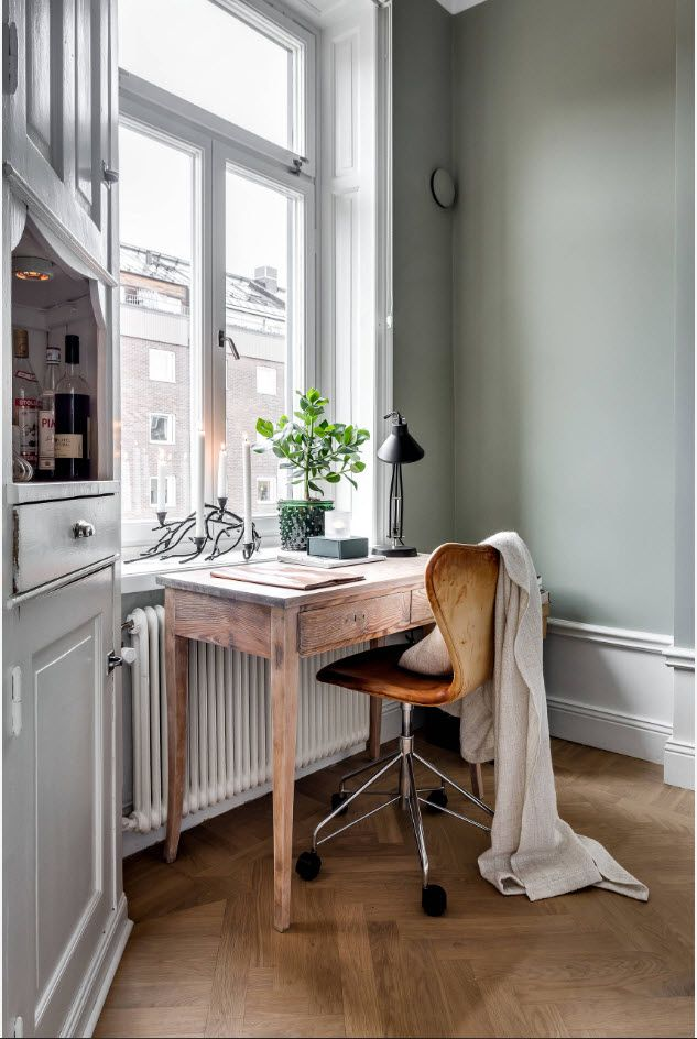 Top 100 Modern Home Office Design Trends 2017. Rough-worked wooden table and wooden paint treated chair
