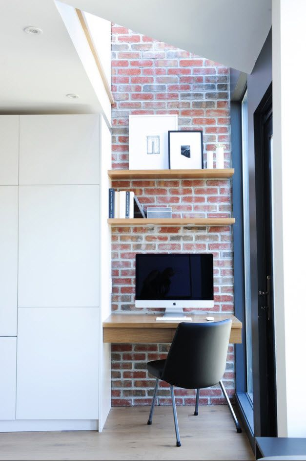 Top 100 Modern Home Office Design Trends 2017. Nice wooden shelves and suspended tabletop in the small nook naer window with brickwork wall trimming